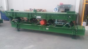 Vibrating screen for battery dust sizing in factory.