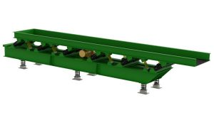 Rendering of vibrating conveyor for castings.