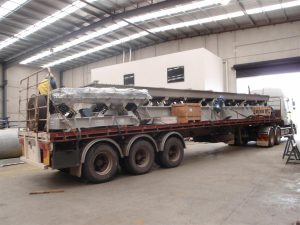 Vibrating equipment for a chemical factory on route.