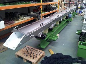 Vibrating conveyor during assembly.