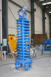 Vibrating spiral conveyor for foundry sand.