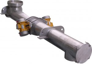 Tubular vibrating feeder made from stainless steel.