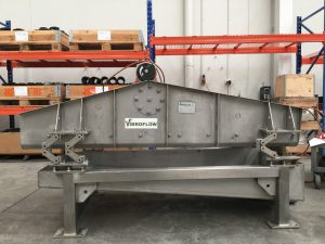 Vibrating screen with oscillating mounts.